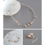 Rose Gold Floating Pearl Jewellery Set