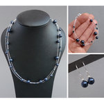 Navy Floating Pearl Jewellery Set