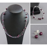 Plum Floating Pearl Jewellery Set - Mulberry Multi-strand Necklace, Bracelet and Earring Set