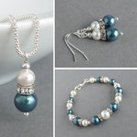 Dark Green Pearl and Crystal Jewellery Set
