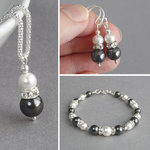 Dark Grey Pearl and Crystal Jewellery Set