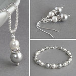 Silver Grey Pearl and Crystal Jewellery Set