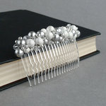 Silver Pearl Stardust Hair Comb