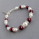 Burgundy Pearl and Crystal Bracelet
