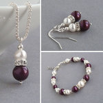 Plum Pearl and Crystal Jewellery Set