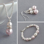 Blush Pink Pearl and Crystal Jewellery Set