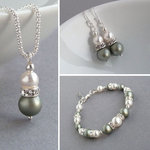 Sage Green Pearl and Crystal Jewellery Set