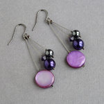 Purple Three Strand Earrings