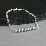 Lavender Pearl and Silver Bracelet