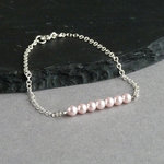 Blush Pink Pearl and Silver Bracelet