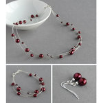 Burgundy Floating Pearl Jewellery Set