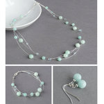 Greyed Jade Three Strand Jewellery Set