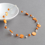 Orange Floating Pearl Necklace