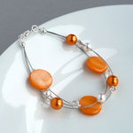 Orange Floating Pearl Bracelet