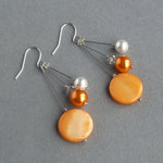 Orange Three Strand Earrings