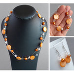 Orange Floating Pearl Jewellery Set