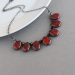 Red Teardrop Fan Necklace