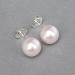 8mm Blush Pink Pearl Stud Earrings - Round Light Pink Studs
