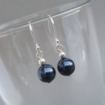 Simple Navy Pearl Drop Earrings