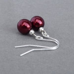 Simple Burgundy Pearl Drop Earrings