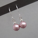 Simple Dusky Pink Pearl Drop Earrings