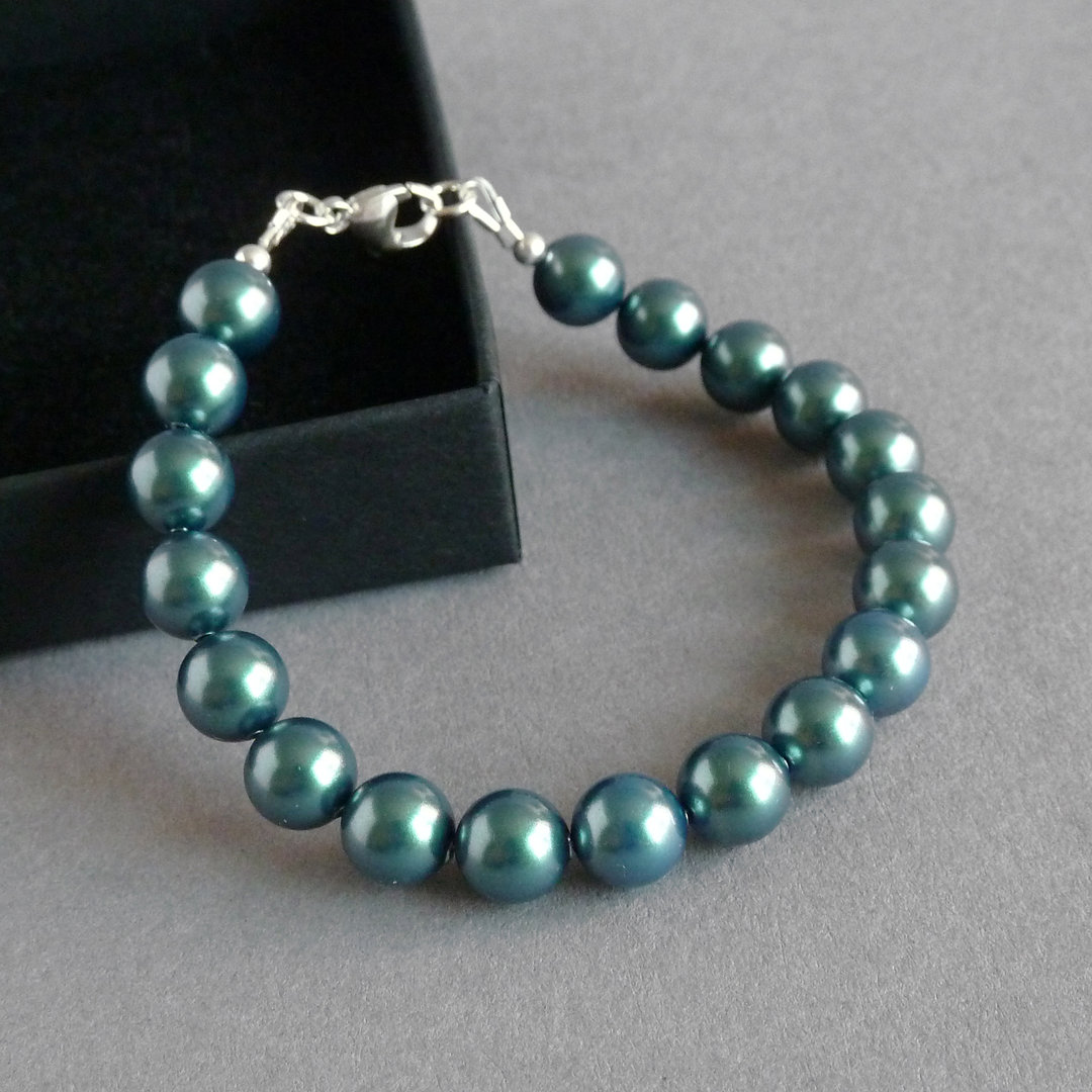Bracelet and Earrings Dark green Pearl Jewellery Set Teal Pearl and Crystal Jewelry Wedding Jewellery Aquamarine and White Necklace