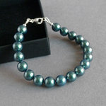 Simple Dark Green Pearl Bracelet