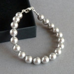 Simple Silver Grey Pearl Bracelet