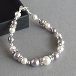 Lilac Pearl and Crystal Bracelet