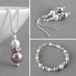 Lilac Pearl and Crystal Jewellery Set