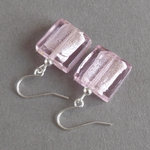 Pink Fused Glass Earrings