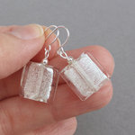 White Fused Glass Earrings