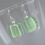 Mint Green Fused Glass Earrings