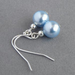 Simple Pale Blue Pearl Drop Earrings