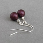 Simple Plum Pearl Drop Earrings