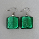 Large Emerald Green Fused Glass Drop Earrings - Big Teal Square Dangle Earrings for Women