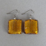 Chunky Amber Fused Glass Drop Earrings - Large Gold Square Dangle Earrings