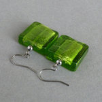 Chunky Lime Square Dangle Earrings - Large Bright Green Fused Glass Drop Earrings for Women