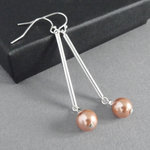 Long Rose Peach Pearl and Silver Bar Dangle Earrings - Simple Everyday Coral Drop Earrings