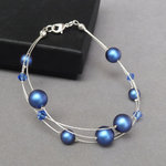 Royal Blue Floating Pearl Bracelet