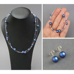 Royal Blue Floating Pearl Jewellery Set