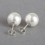 Chunky 12mm White Pearl Stud Earrings - Large Round Glass Pearl Studs