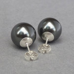 Chunky Black Pearl Stud Earrings - Large Dark Grey 12mm Round Glass Pearl Studs