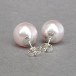 12mm Chunky Blush Pink Pearl Studs - Large Round Pale Pink Glass Pearl Stud Earrings