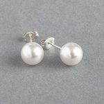 8mm Round White Pearl Stud Earrings - Simple Everyday Glass Pearl Studs