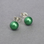 6mm Green Pearl Studs - Small Round Everyday Stud Earrings