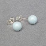 6mm Matt Pastel Blue Stud Earrings - Simple Round Light Blue Studs