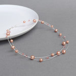 Rose Peach Floating Pearl Necklace - Coral Pink Multi-strand Necklace