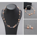 Rose Peach Floating Pearl Jewellery Set - Coral Pink Multi-strand Necklace, Bracelet and Earrings