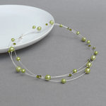 Lime Green Floating Pearl Necklace